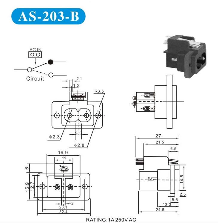 DC电源插座的封装原理图